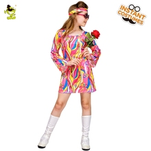 Kid Girls Peace Lovely  Hippie Costume Halloween Cosplay Dress Party Flower Costumes
