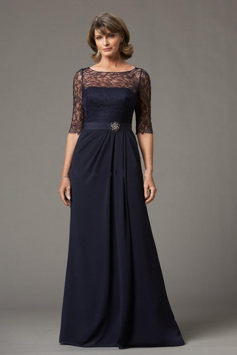 schöne a-linie scoop chiffon dunkelblau mutter der braut kleider mit  halbarm spitze lange abendkleider benutzerdefinierte