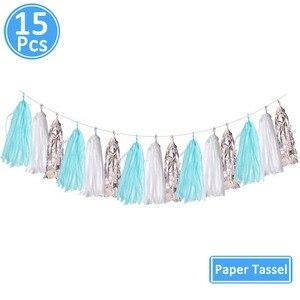 Image 5 - 15pcs Rose Goud Papier Tassel Garland Kids Adult Happy Birthday Eerste 1st Baby Jongen Meisje Een Jaar banner Levert