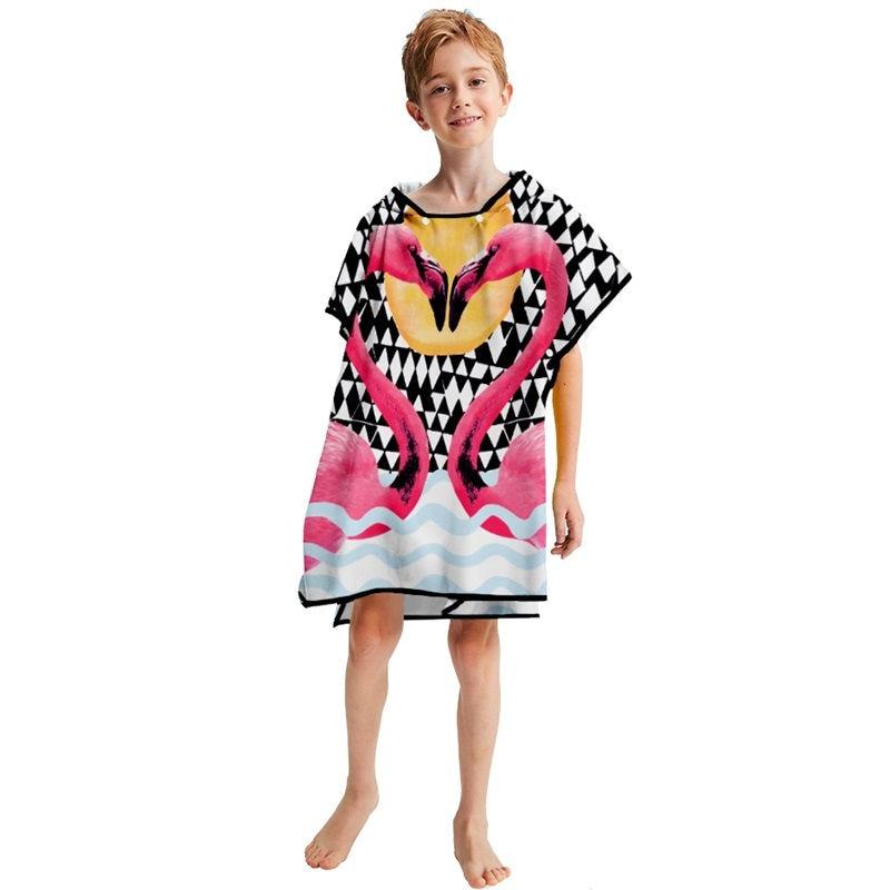 Cartoon Kinderen Hooded Mantel Anna Elsa Flamingo Gedrukt Baby Jongens Meisjes Kids Strandlaken Zwemmen Bad Hooded Handdoek 152*69 cm