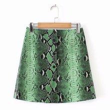 Women Green Snake Print Pu Faux Leather Skirts Pencil Female Mini Skirt