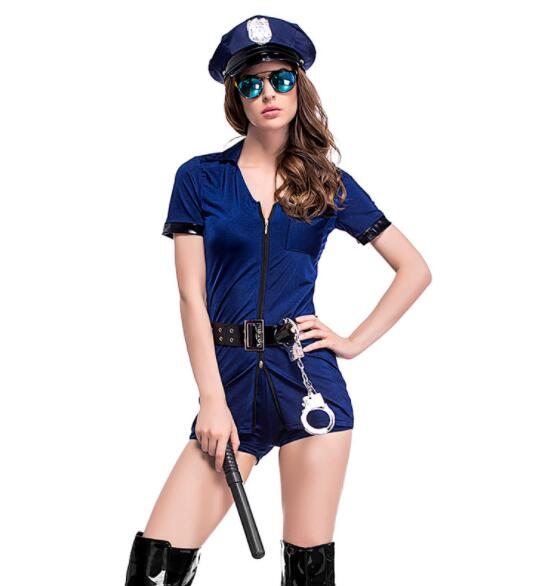 sexy blue lady Halloween Officer Policewomen Cosplay Fancy Dress Outfit Women Sexy Erotic Fetish Cop Police Costume A053