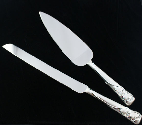 Personalized pure silver color two hearts Wedding Cake Serving Set wedding knife pizza knife 1010B