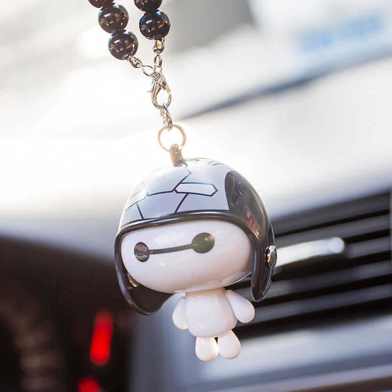 CJLWTTBOD 2018 Automobile Baymax helmet with beads rearview mirror pendant car hanging car tassel accessories gifts