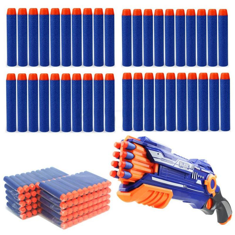 100pcs Refill Darts Bullets For Nerf N-strike Elite Series Blasters Children Toy Gun Blue Soft Bullet Foam Guns Accessories(China)