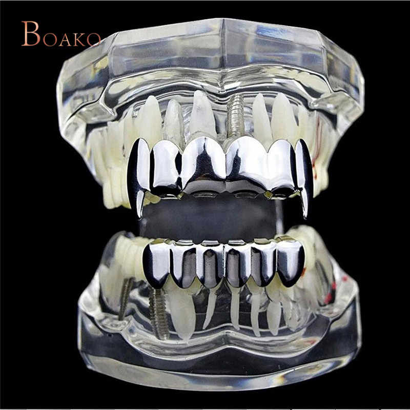 Хоп золотые зубы грили Топ и низ зуб грили стоматологический косплей вампир зубы шапки Рэппер Хэллоуин вечерние ювелирные изделия подарок Z4