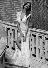 Vintage Sexy Mermaid V-Neck With Cap Sleeves Slit Floor Length Lace Open Back Wedding Dresses Bride Marriage Dress 2014 CN3117