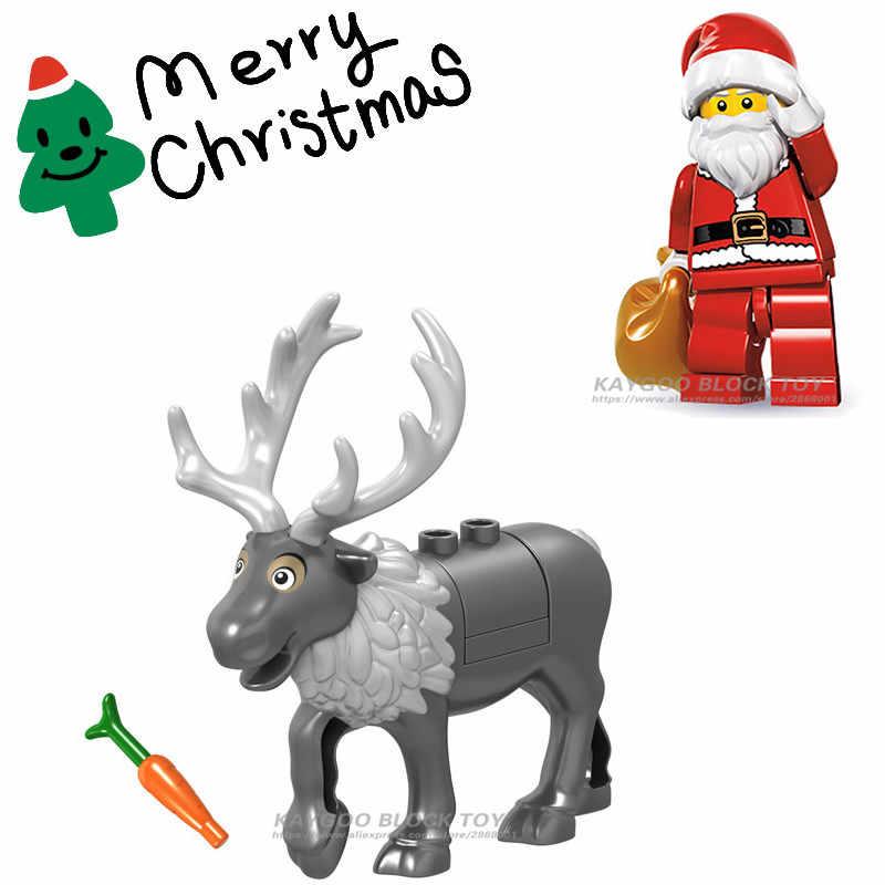 378c2dba7db84 Одна распродажа Фигурка Diy Legoings рождественская ёлка, олень Олень,  Санта Клаус строительные блоки кирпичи