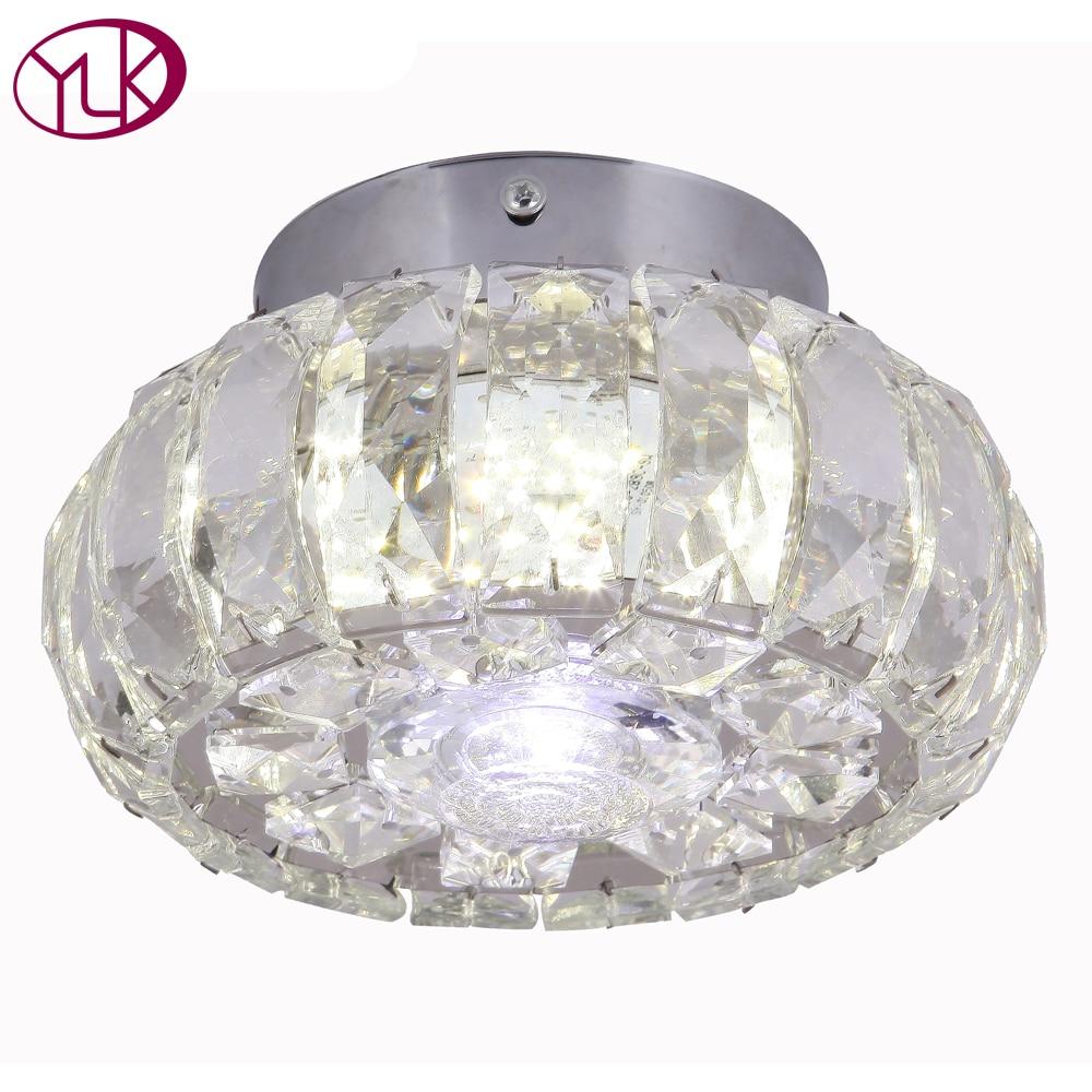 Luxury Mirror Ceiling Lamp Aisle Veranda Lighting Down Crystal Modern Surface Mounted LED Ceiling Lights For Living Room