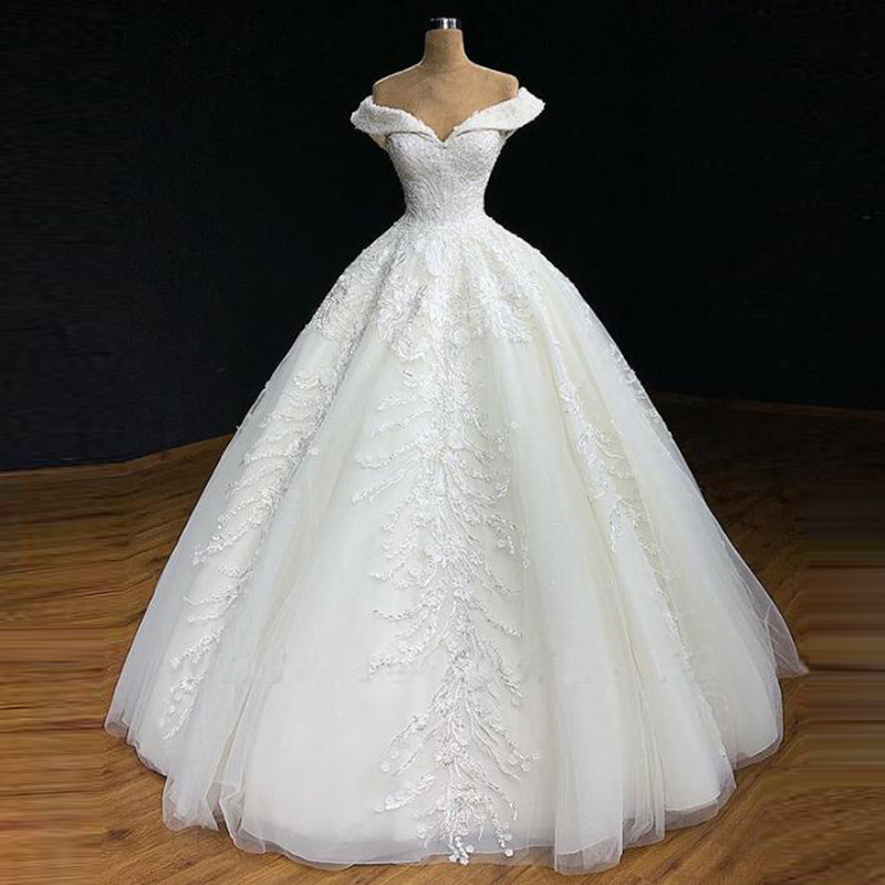 Graceful Real Image Wedding Gown 2019 A Line Sweetheart Off Shoulder Lace Appliques Beads Long Wedding Bridal Gowns Custom Made