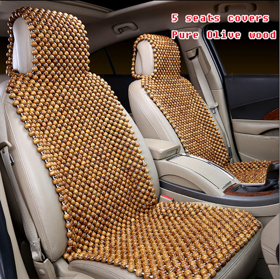Pure Olive Wood Wooden Bead Car Seat Cushion Covers5 Seats Set Summer