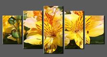 Wall Art Yellow Flowers 5 Panel Painting Yellow Flowers Canvas Print Painting Wall Photo Canvas Art for Home Decor