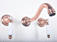 Wall Mount Double Handles 3 Hole Widespread Bathroom Sink Faucet Antique Red Copper Finish zsf504