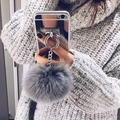 Золото Роскошный Металлический Трос Зеркало Кисточкой телефон Капа поддельные меха Лисы бал iPhone 7 7 Plus 6 6 S 6 плюс 4 5 S 5S SE Задняя Крышка случае