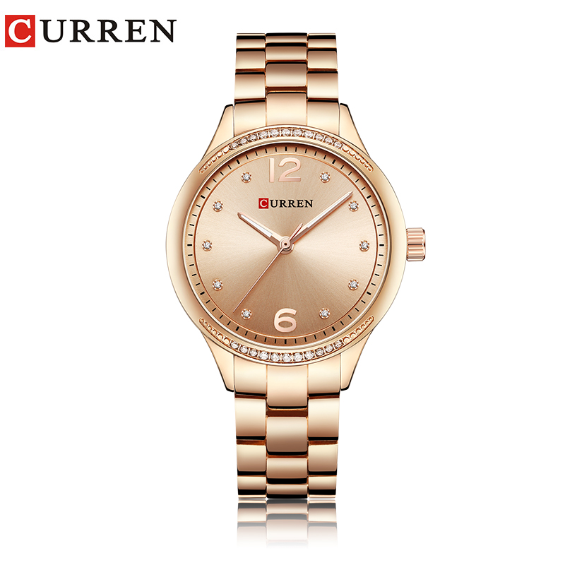 CURREN casual watch women rose gold water resistant ladies crystal watch 2018 fashion quartz wristwatch Mother's day gift montre цена и фото