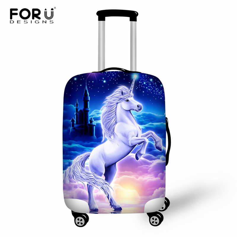 FORUDESIGNS Travel Luggage Cover Unicorn Luggage Protective Cover Cute Dustproof Suitcase Cover Elastic Suit For 18