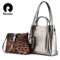 REALER Brand Women Handbag High Quality Cow Split Leather Tote Bag Large Capacity Female Leopard Print