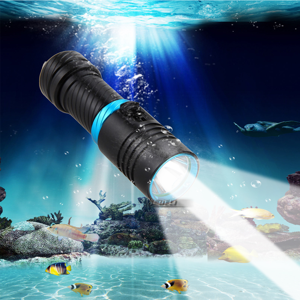 100M Scuba Diving Flashlight Xm L2 Led Lantern Underwater Worklight Lampe Torche Waterproof Torch Flashlight 26650 Or 18650