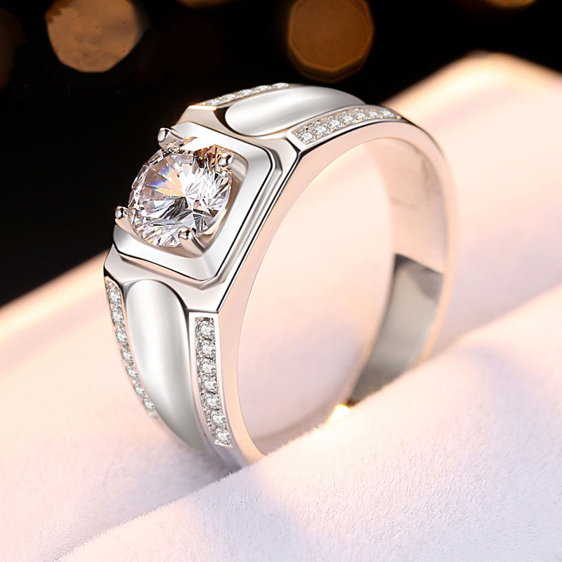 1ct Classy Solitaire Ring Solid 925 Sterling Silver Male Jewelry Cubic Zirconia Men Engagement Ring Special Gift for Fiance in Wedding Bands from Jewelry Accessories