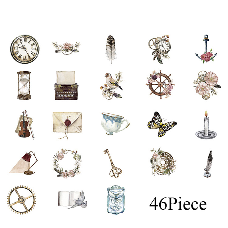 46pcs/box Stationery Vintage Stickers Retro Narrative Chapter Travel Stickers Decorations Scrapbooking Diary Diy Autocollant