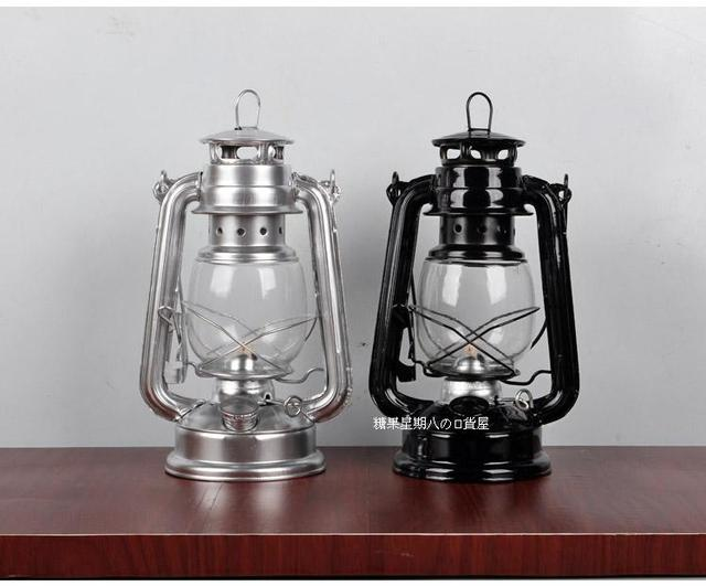 2pcs Hot sale Nostalgic classic kerosene lamp hurricane Lantern mastlight  wild emergency light camp light,paraffin lamp 19cm-in Lamp Covers & Shades