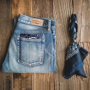 Image 4 - MADEN Men's Washed Regular Straight Fit Jeans with Pocket Square Black Light Blue