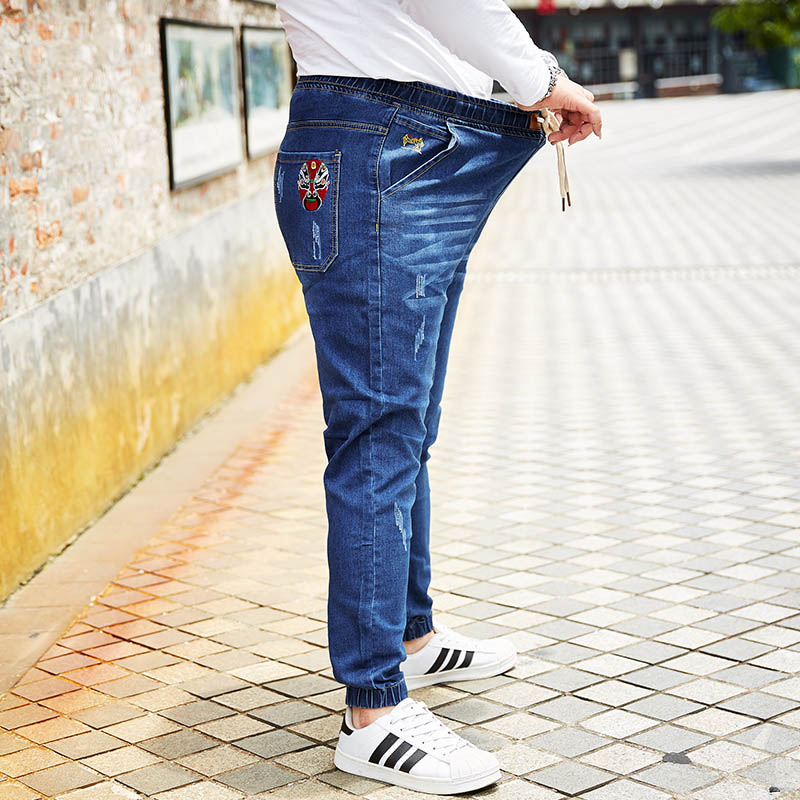 Ankle Length Jeans Harem Pants Joggers Ankle Banded Mask Printed Men Plus Size Denim Drawstring Fashion Oversize Mens Clothing