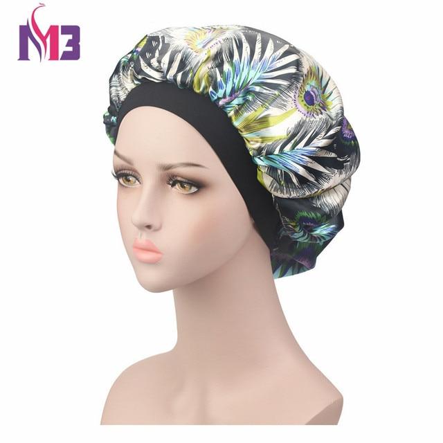 revendeur 87cc2 33f5a € 2.48 8% de réduction|Mode femmes Satin Bonnet impression chapeau Turban  chapeaux doux soie Donna sommeil casquette dames cheveux couverture cheveux  ...
