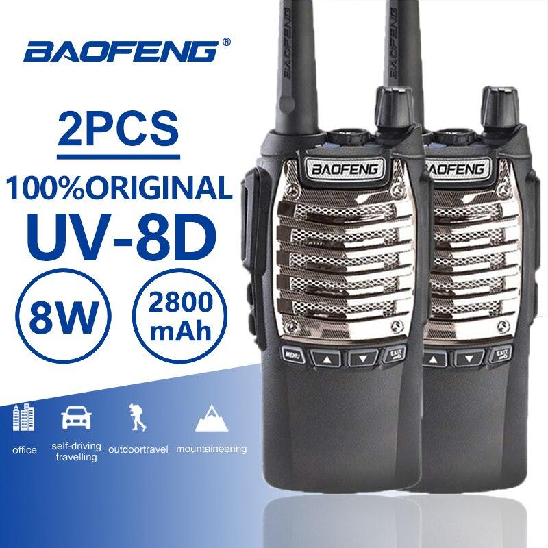 2pcs Baofeng UV-8D Handy Walkie Talkie Dual PTT 8W UHF 2800mAh Long Standby Portable Ham Radio UV 8D CB Radio Two Way Radio UV8D