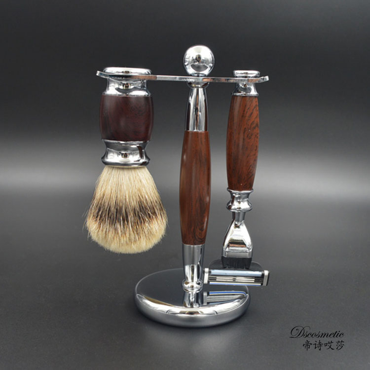 high quality shaving sets/kit with silvertip badger hair brush and shave stand triple blade razor for shaving gift set shaving brush comb set natural boar bristle beard brush silvertip badger tooth comb for man gift box barber brush care of b