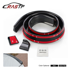 RASTP - Universal Performance 4.5CM Width Carbon Fiber Ducktail Rear Spoiler Wing Rubber Protector Easy Install RS-LKT005