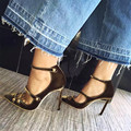 Retro Das Mulheres Do Vintage de Veludo Sapatos Stilettos Tira No Tornozelo Bombas de Salto Alto Sandálias de Festa Sapatos de Casamento Mulher De Tiras Cortar Sapato