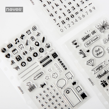 Never Fashion Transparent Seal Set Stamp for scrapbooking Planner Accessories Diary Decorative Kawaii stationery Store time pc cake chronodex seal photosensitive stamp creative planner schedule diy scrapbooking making deliveries time diary record