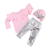 0 3T Infant Baby Girl Clothes Sets Long Sleeve Tops Sweatshirt T Shirts Pants Hat Bow