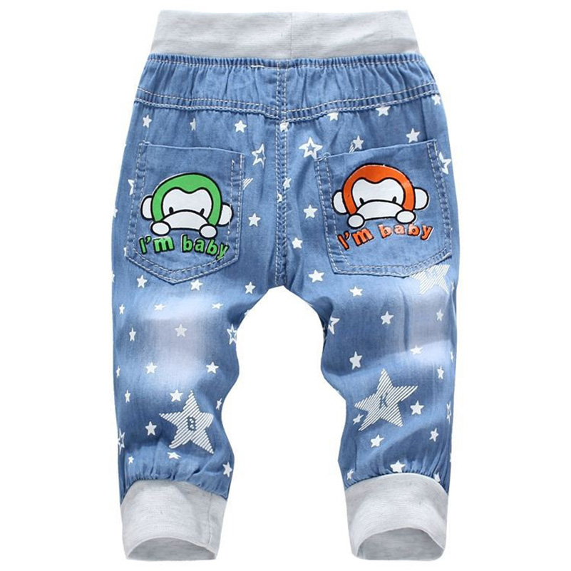 2017 Hot Sale Boy Girl Summer Denim Jeans Children Comfortable Pants Baby Elastic Waist Jeans Pants Cartoon Printing CY142 (3)