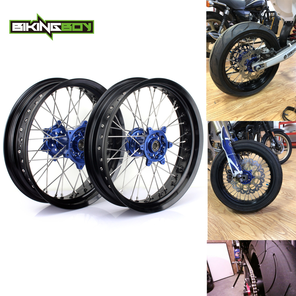 BIKINGBOY 17 x 3.5 x 4.5 Supermoto For YAMAHA YZ 250 450 F 2009 2010 2011 2012 2013 09-13 Blue Front Rear Wheels Rims Hubs SetsBIKINGBOY 17 x 3.5 x 4.5 Supermoto For YAMAHA YZ 250 450 F 2009 2010 2011 2012 2013 09-13 Blue Front Rear Wheels Rims Hubs Sets