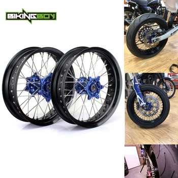 "BIKINGBOY 3.5/4.5/17"" Supermoto Front Rear Wheels Rims Hubs Spacers For Yamaha YZ 250 450 F YZF 250 450 2009 2010 2011 2012 2013"