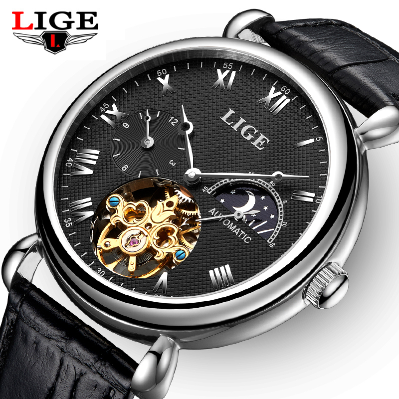 Mens Watches Top Brand Luxury LIGE 2017 Men Watch Sport Tourbillon Automatic Mechanical Leather Wristwatch relogio masculino+BOX mens wristwatch relogio masculino fashion sport watches men lige tourbillon top brand luxury automatic mechanical watch