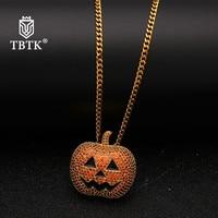 TBTK Hallown Pumpkin Pendant Orange/Black Color Pendant Necklace Punk Style Funny Jewelry Hiphop Man Gift Charm Pendant Necklace