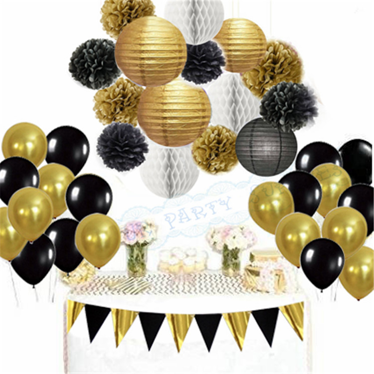 1 Set Mixed Black Gold Banner White Paper lantern Tissue Pom poms Honeycomb Balls Balloons Birthday Graduation Party Decor
