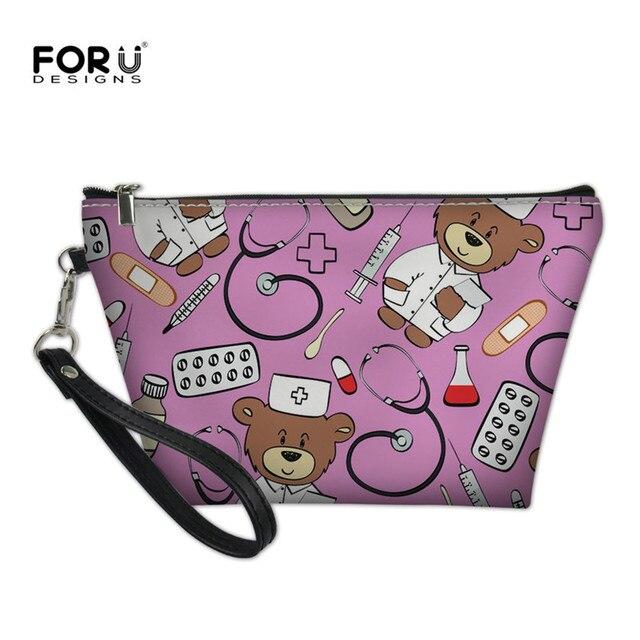 0cdaa988c94e FORUDESIGNS Women Cosmetic Bag for Make Up Cute Cartoon Bear Nurse Travel  Makeup Small Organizer Cases