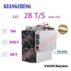 Kuangcheng Bitmain новейший 7nm BTC BCH/BCC Шахтер! AntMiner S15 28 T SHA-256 шахтер с APW8 PSU Asic шахтер Бесплатная доставка