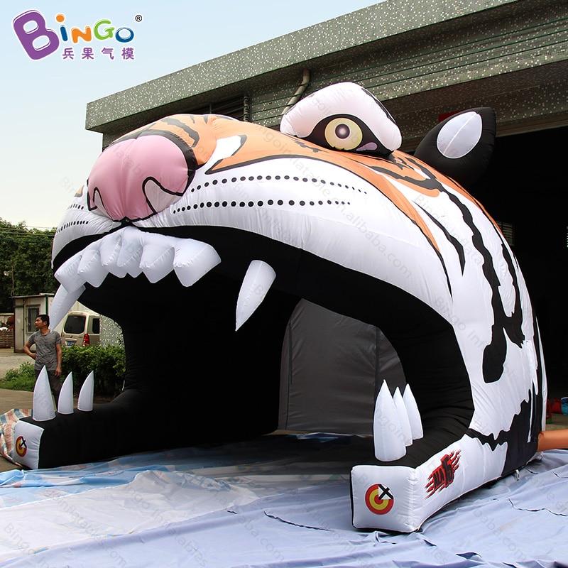 Personalizado 4x4.3x3.6 meters material de nylon caráter tigre cabeça do tigre inflável tenda túnel tendas infláveis brinquedo