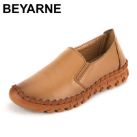 BEYARNE Hot Sale Women Flats Pure Hand Made Ladies Shoes Fashion Genuine Leather Soft Loafers Solid
