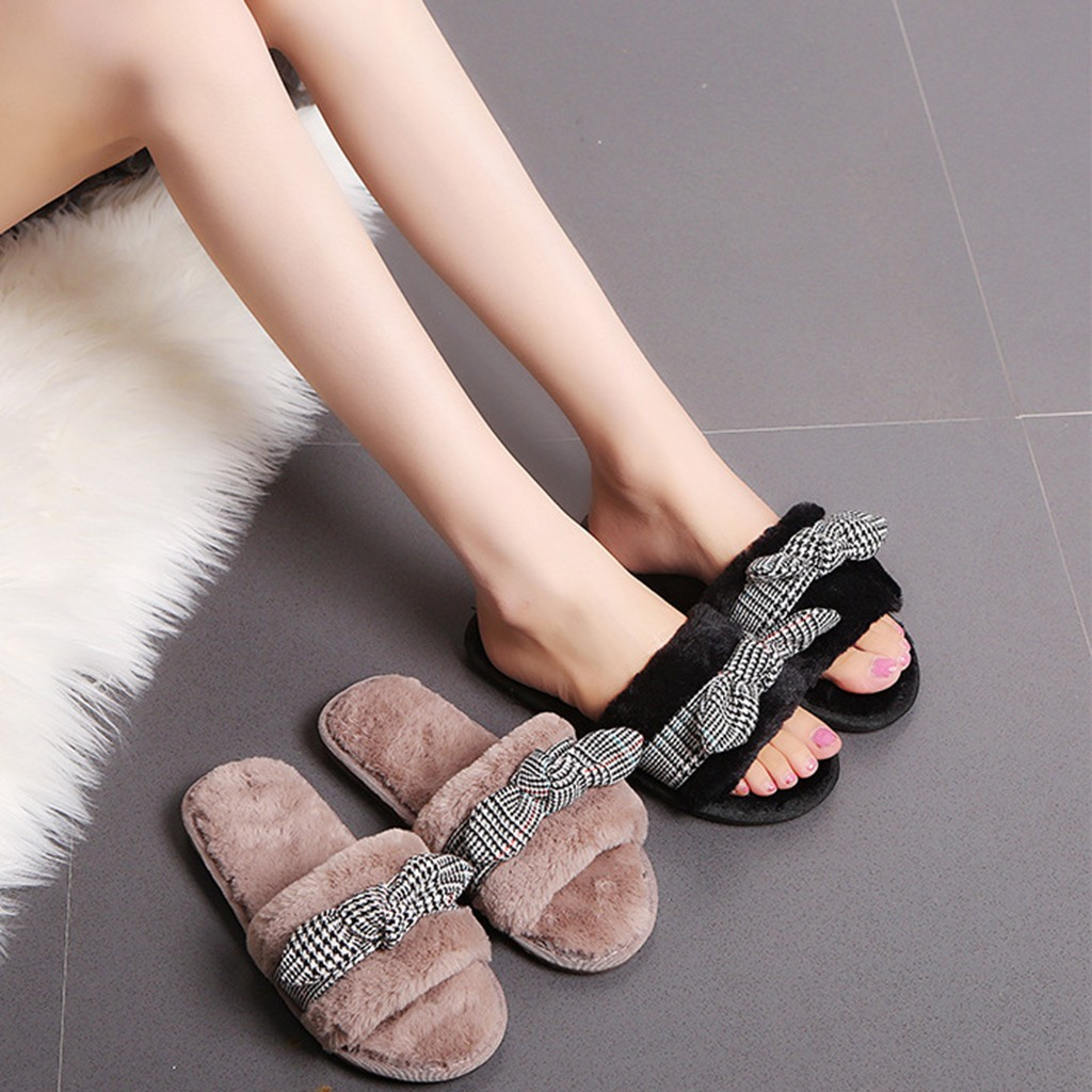 Women Warm Slipper Plaid Bow Knot Plush Soft Slippers Faux Fur non-slip flats plush Indoors Floor Bed Room Shoes Flip Flop
