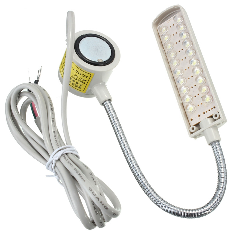 Hot Flexible Gooseneck Industrial Sewing Machine 20 LED Night Light Lamp 110-250V Magnetic Mounting Light Lamp Pins Plug