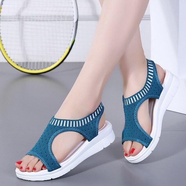 New Sandalias Mujer 2019 Sandalia Phụ Nữ Nền Tảng Dép Giày Phụ Nữ Nữ Zapatos De Mujer Harajuku Đàn Hồi Miệng Cá Lưới