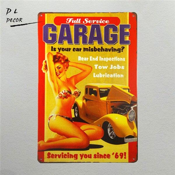 DL - Full Service Garage to nejlepší z obou hot rodů a klasických pin up dívek vintage Garage wall art