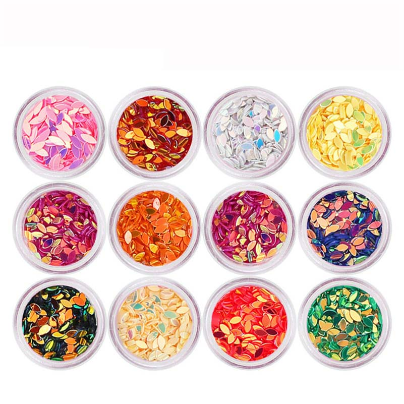 12PCS/Set DIY Design Nail Art Colorful Horse Eyes Sequins Shinning Nail Stickers Craft Rhinestones Accessories Nail-Supplies Set monja 48 jar mix style nail art rhinestones beads glitter powder sequins flakes stickers 3d design decoration