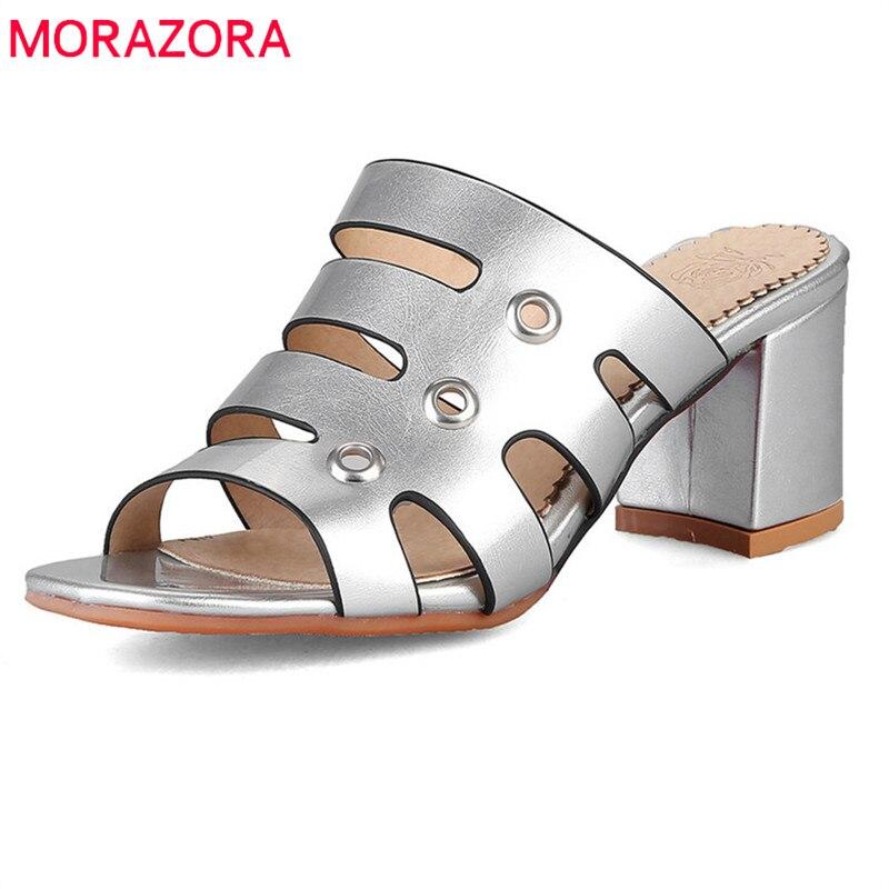 100% Wahr Morazora 2018 Neue Ankunft Frauen Sandalen Große Größe 33-47 Pu Sommer Schuhe Klassischen Quadratischen Ferse Schuhe Elegante Gold Silber Prom Schuhe